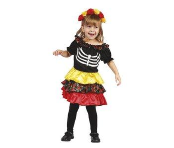 Kinderkostuum 'Pequeña Catrina' (3-4 jaar)