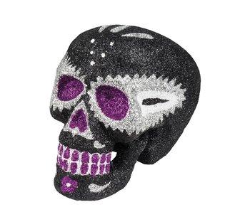 Sugar skull Glitter zwart (16 x 13 cm)