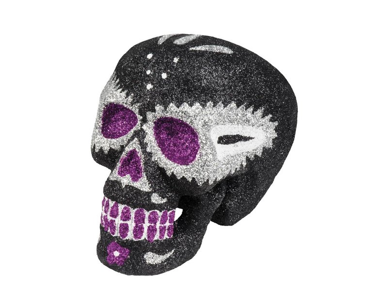 Sugar skull zwart (16x13 cm) Dia de los Muertos / Dag van de doden decoratie
