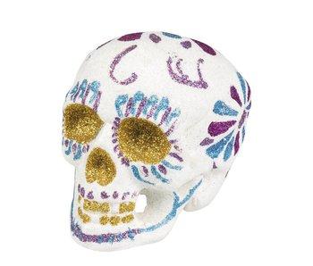 White glitter skull 16x14cm