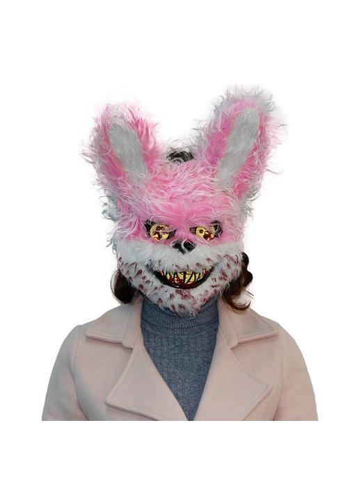 Halloween masker 'Roze horror konijn'