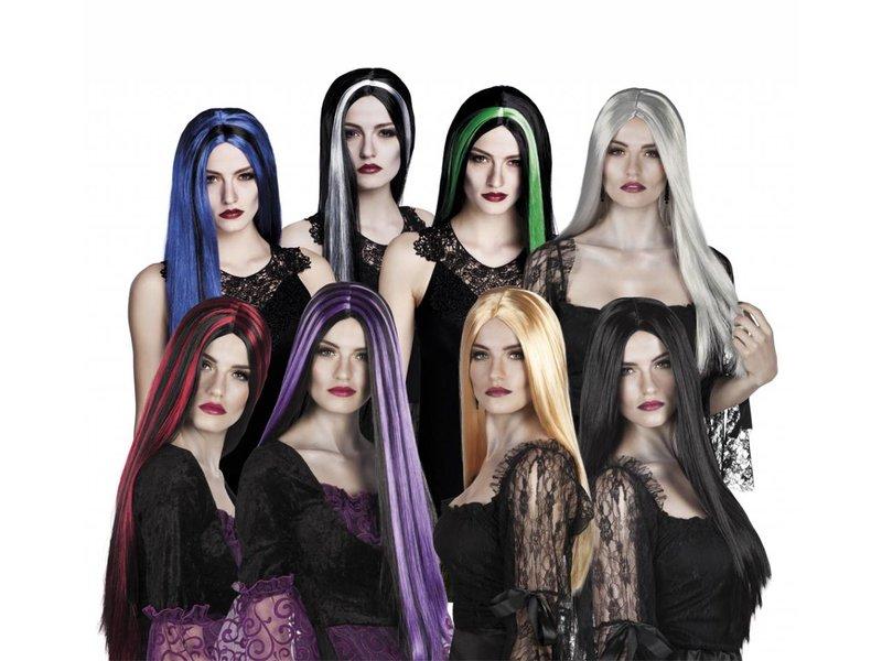 Heksen pruik in zes kleuren