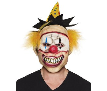 Freaky clown mask with hat+hair