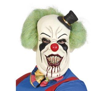 Latex hoofdmasker Horror clown de luxe met haar