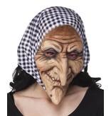 Latex gezichtsmasker Heks met kap zwart/wit
