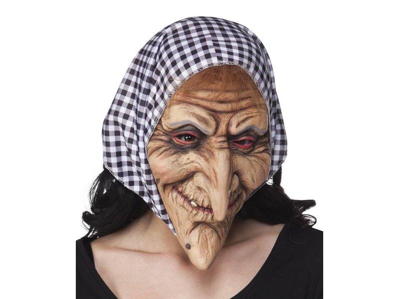 Heksmasker met zwart-witte hoofddoek