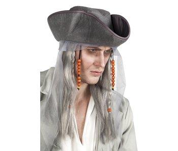 Pruik Ghost pirate met hoed