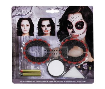 make-up Day of the dead (make-up, 1 spons, 2 oogdecoraties en 1 stickervel met 20 edelstenen)