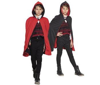 Cape kid black/red reversable (115 cm)
