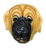 latex hondenmasker 'bulldog' (bruin)