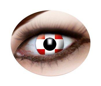 Swiss flag contact lenses