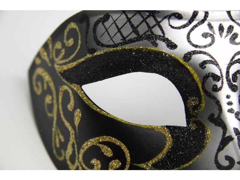 Venetiaans masker 'Columbina Princessa' (goud/zilver)