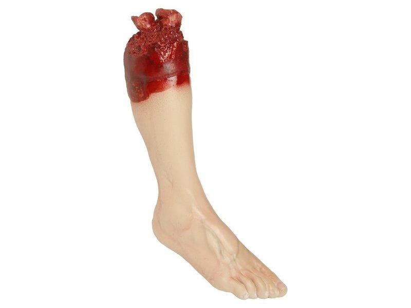 Afgescheurde en bebloede beenprop rechtervoet