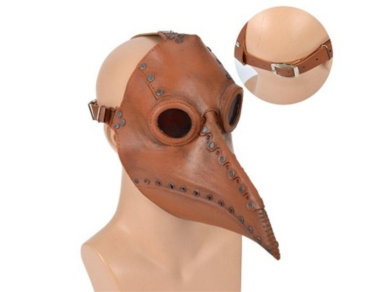 Pestdokter masker (leather look bruin / steampunk style)