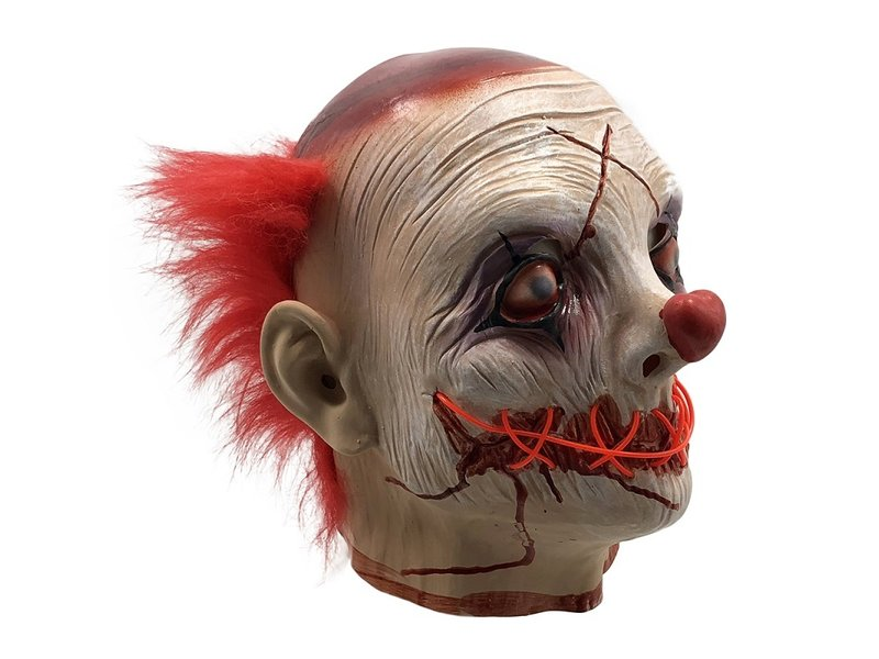 Horror Clown masker (lichtgevend El Wire LED rood)