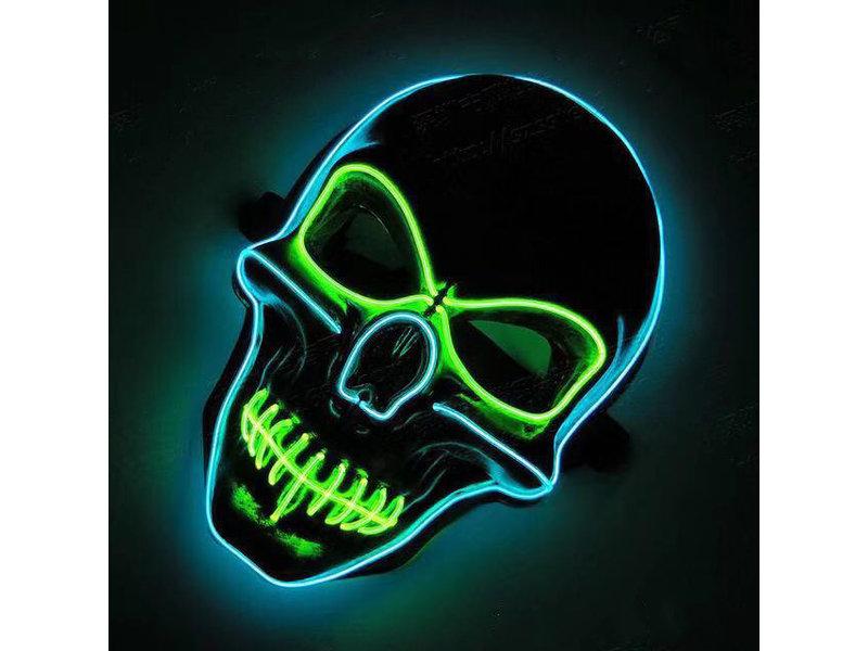 Schedelmasker (lichtgevend el wire groen/blauw)