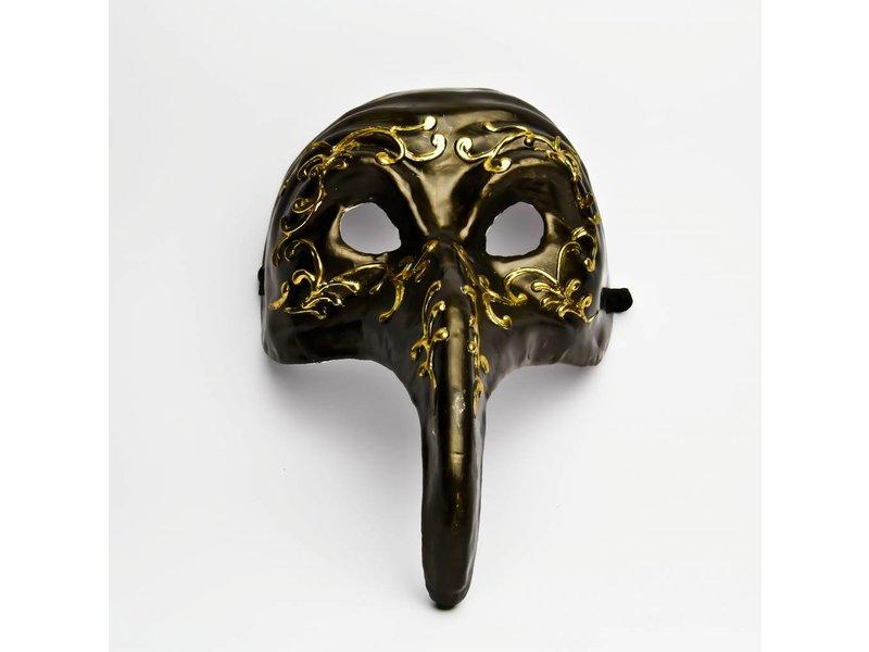 Venetiaans masker 'Pestdokter' (zwart/goud)
