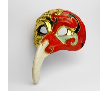 Plague Doctor mask 'Naso Lungo' (Gold/Red)