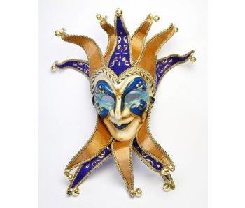 Jolly Joker masker met kraag (blauw)