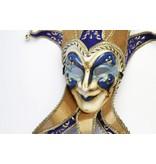 Venetian mask Jolly Joker with collar (blue)