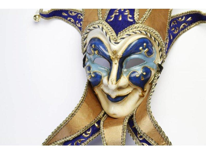 Venetiaans Jolly Joker masker met kraag (blauw)