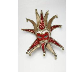 Venetiaans masker 'Jolly Joker' (rood fluweel)