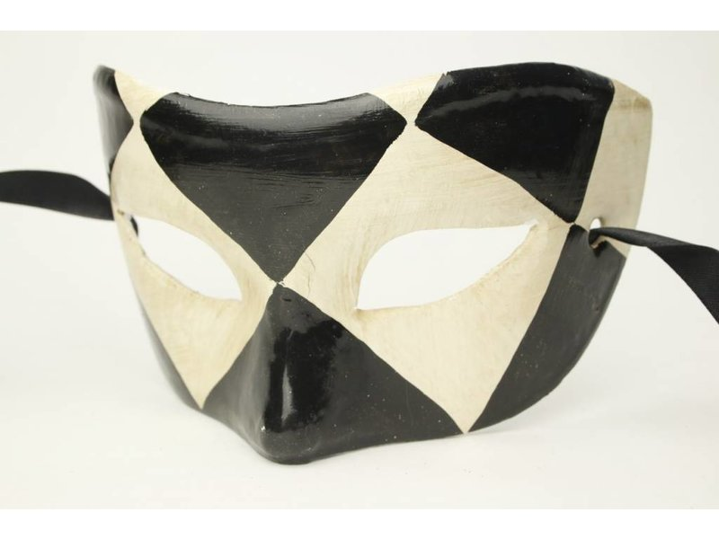 Venetiaans masker 'Chezz' (zwart/wit)