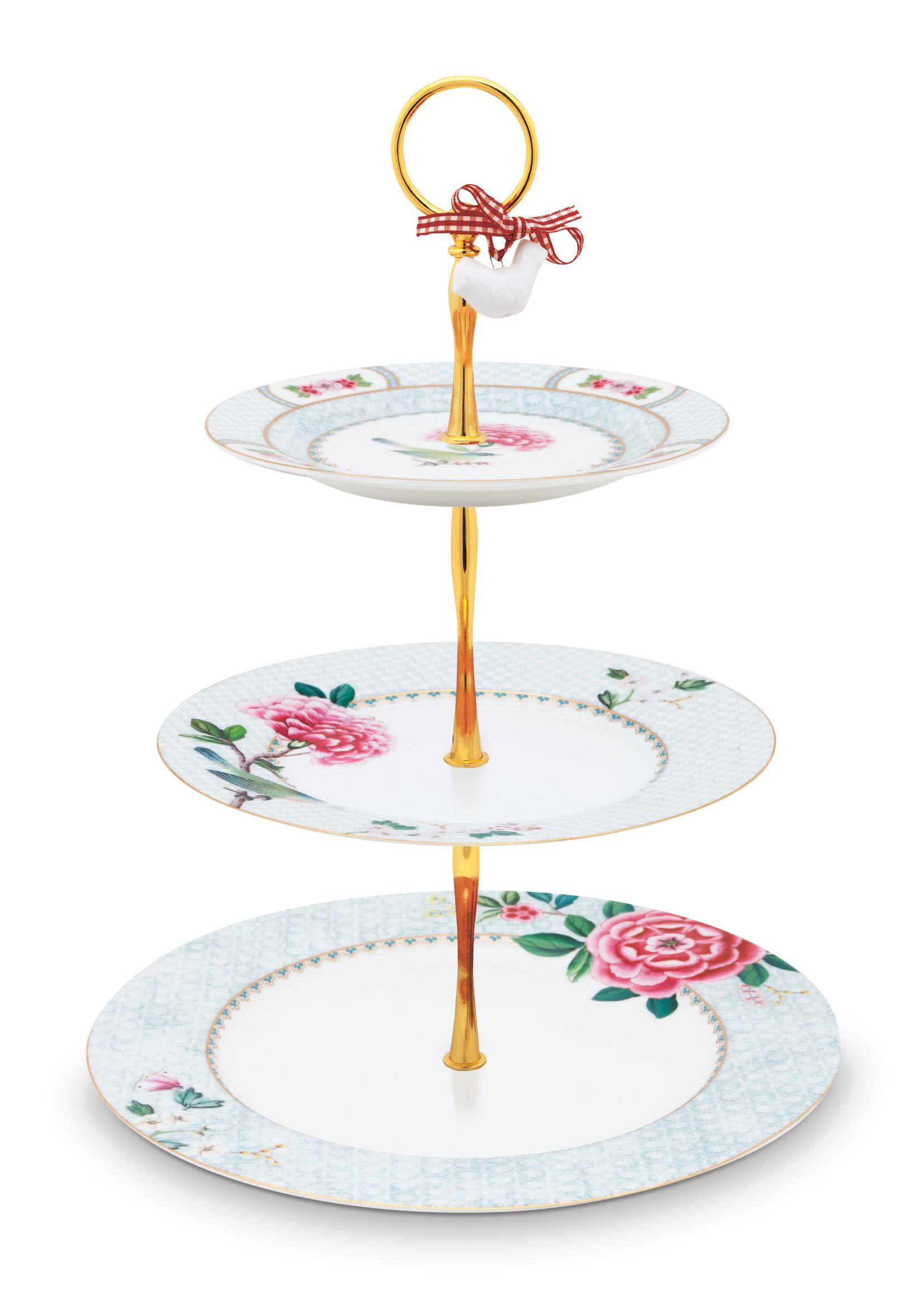 pip studio Cake Stand 3/Layers Blushing Birds White 17-21-26.5cm