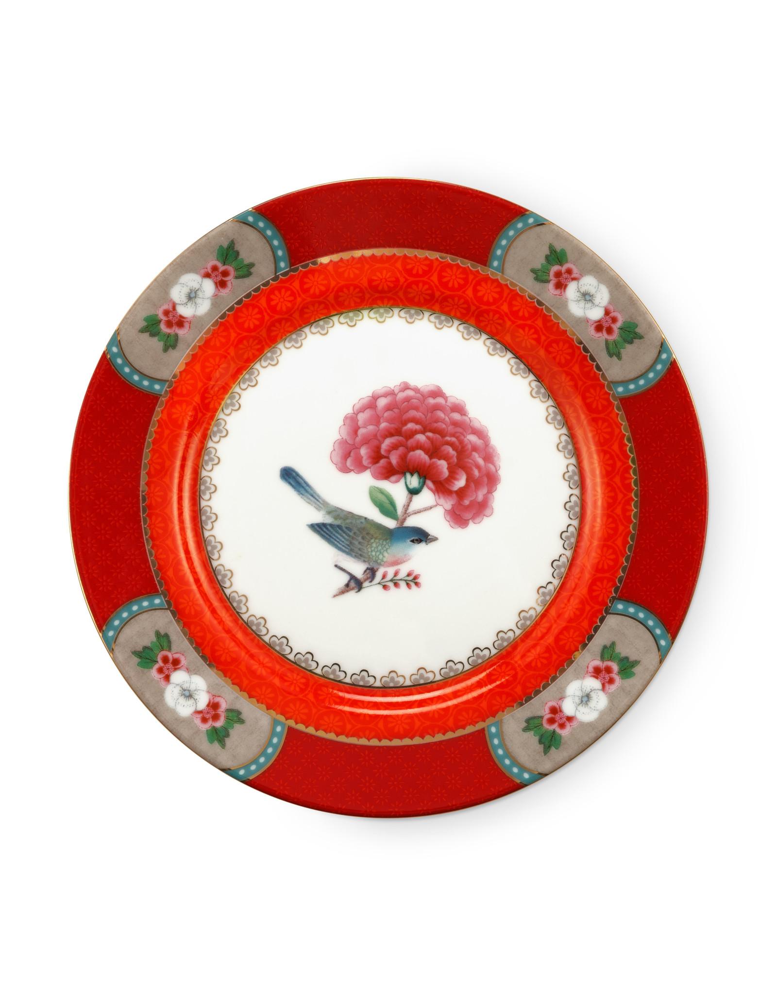 pip studio Plate Blushing birds red 17cm