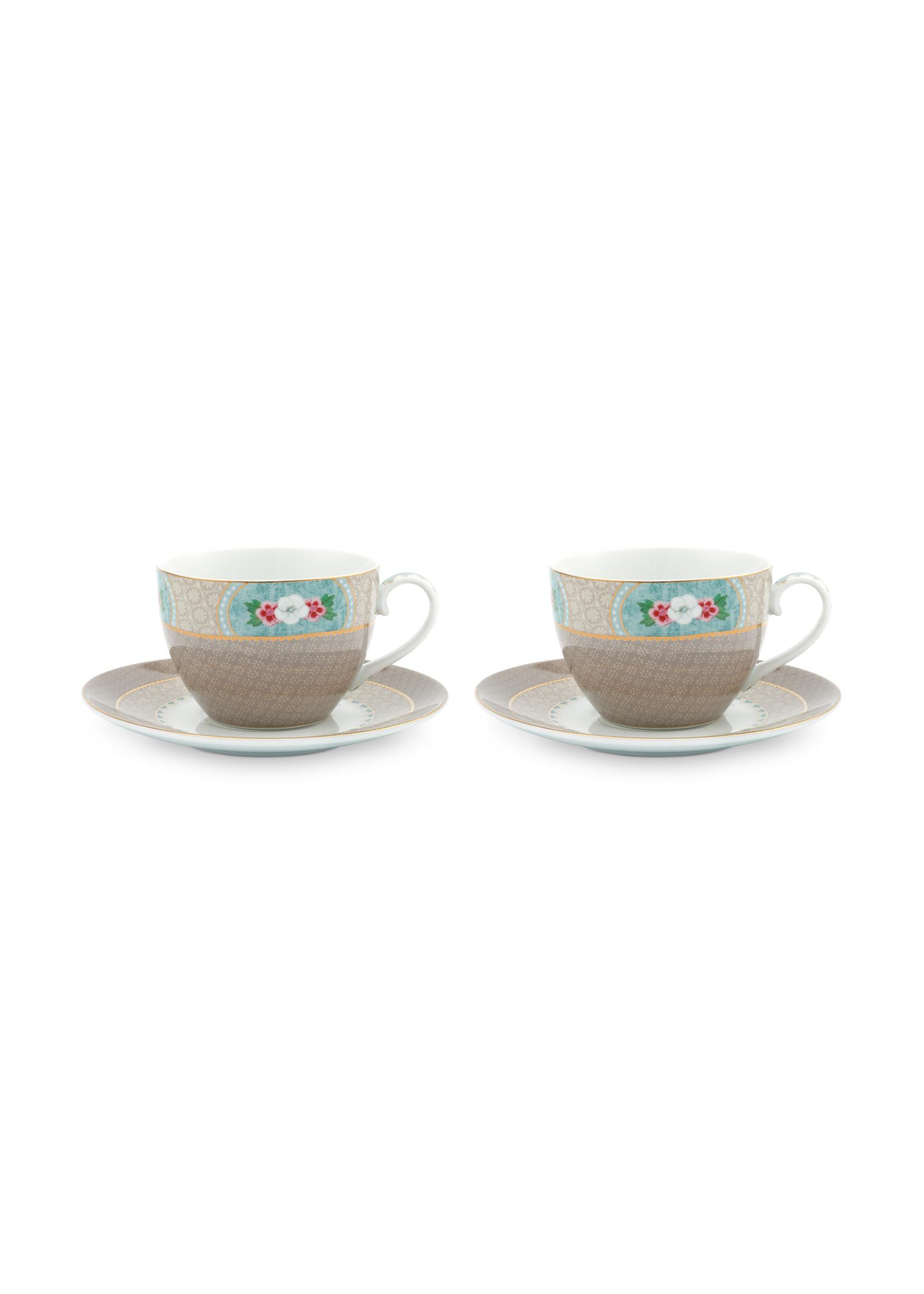 pip studio Set/2 Cups & Saucers Blushing Birds Khaki 280ml