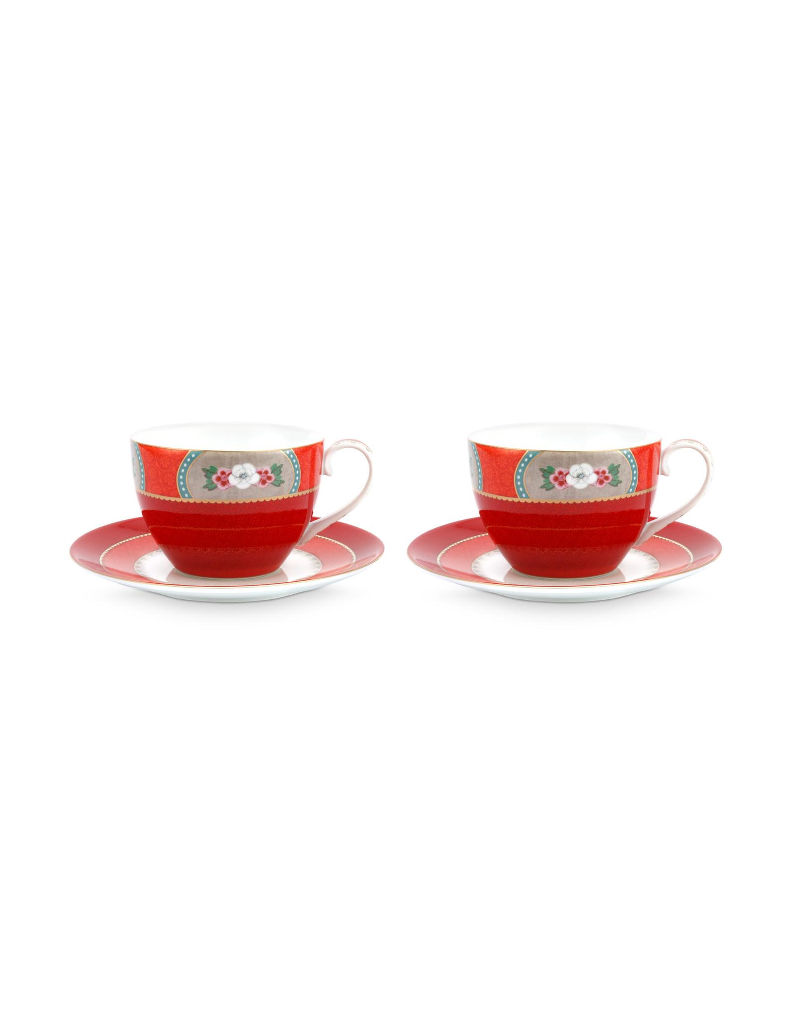 pip studio Set/2 Cups & Saucers Blushing Birds Red 280ml