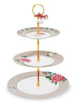 pip studio Cake Stand 3/Layers Blushing Birds Khaki 17-21-26.5cm