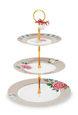 pip studio Cake Stand 3/Layers Blushing Birds Khaki 17-21-26.5cm