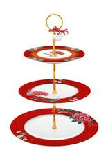pip studio Cake Stand 3/Layers Blushing Birds Red 17-21-26.5cm
