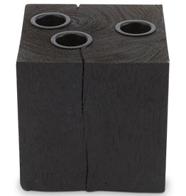 vtwonen Candle Block Square Reversable Wood Black 10x10x10cm