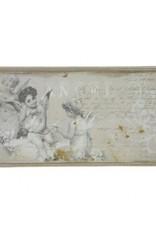 Wandbord engelen grijs 32 x 15