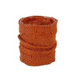 Glazen waxinelichthouder met oranje stof