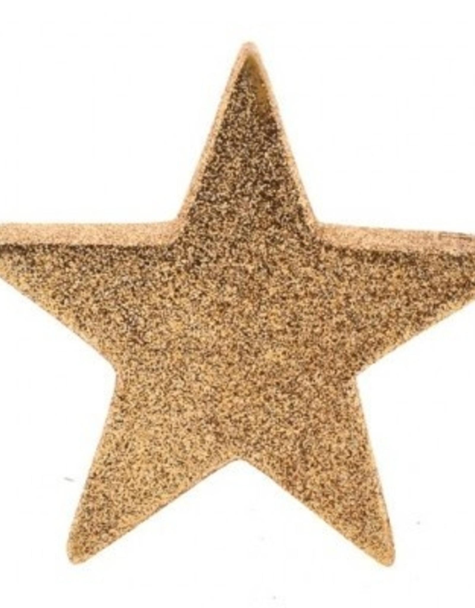 56398 Glitter ster keramiek goudkleur 14 cm