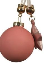 Hangdecoratie kerstbal ster roze 20 cm
