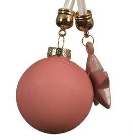 Kerstbal roze met Ster 20 cm