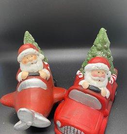 Kerstman met auto of vliegtuig