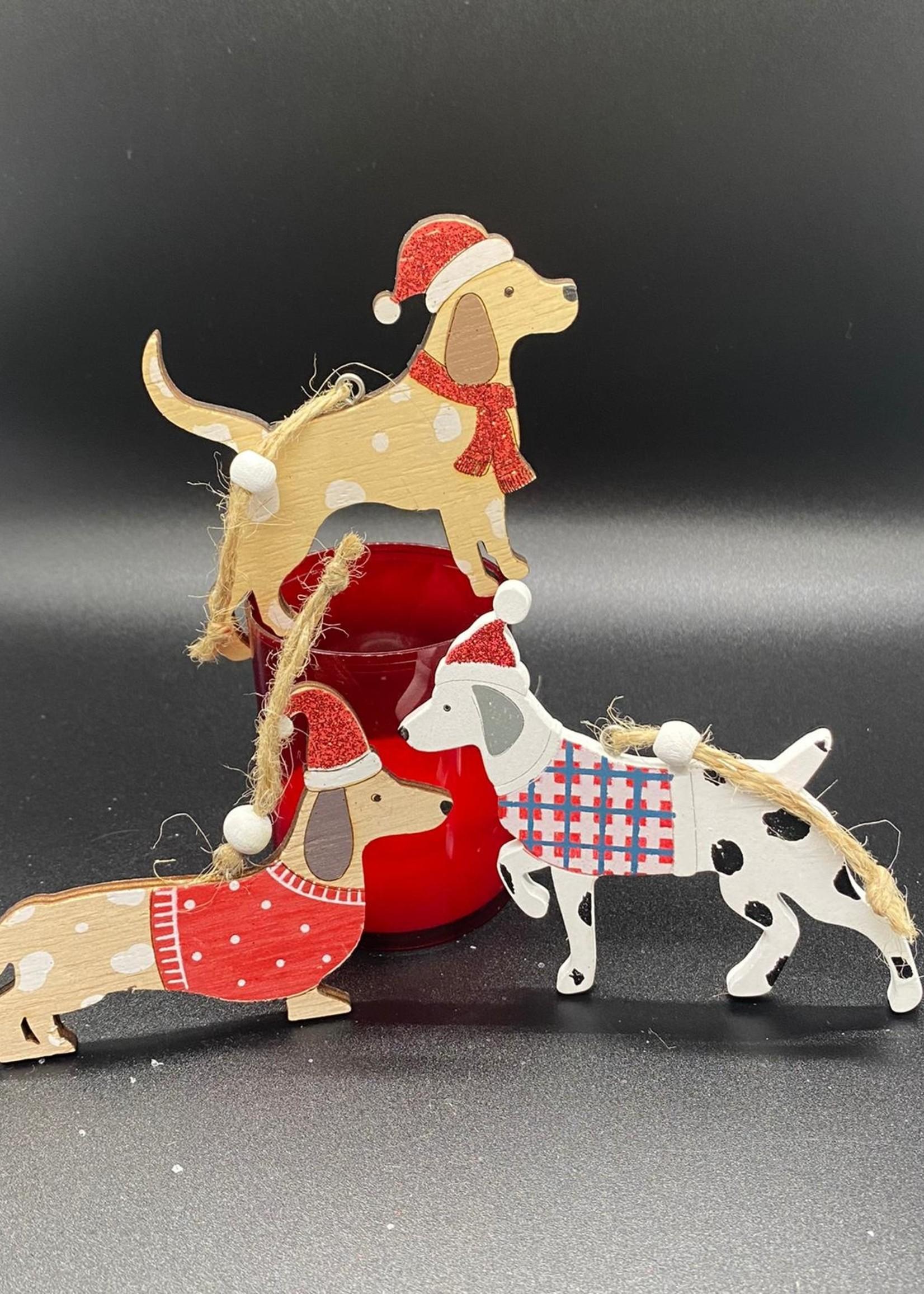 houten hanger kersthondjes