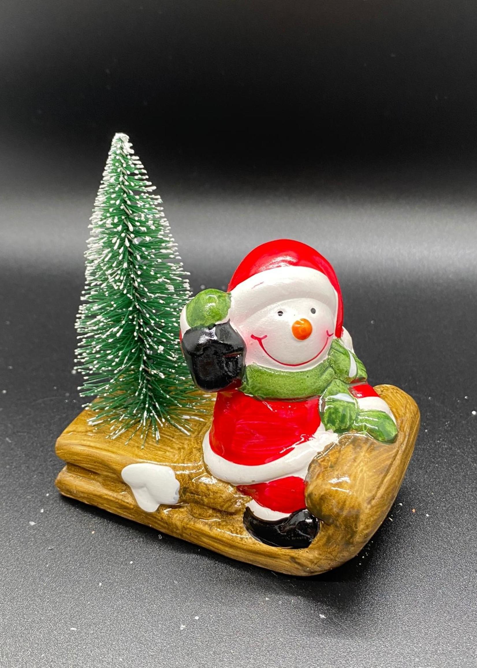 Keramiek Kerstman/sneeuwman op slee