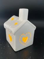 Huisje met lampje wit 11,5 cm