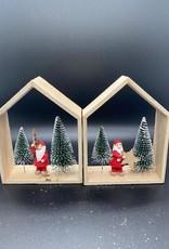Kersthuis hout 14 cm