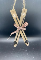 Houten Skis's met skistokken