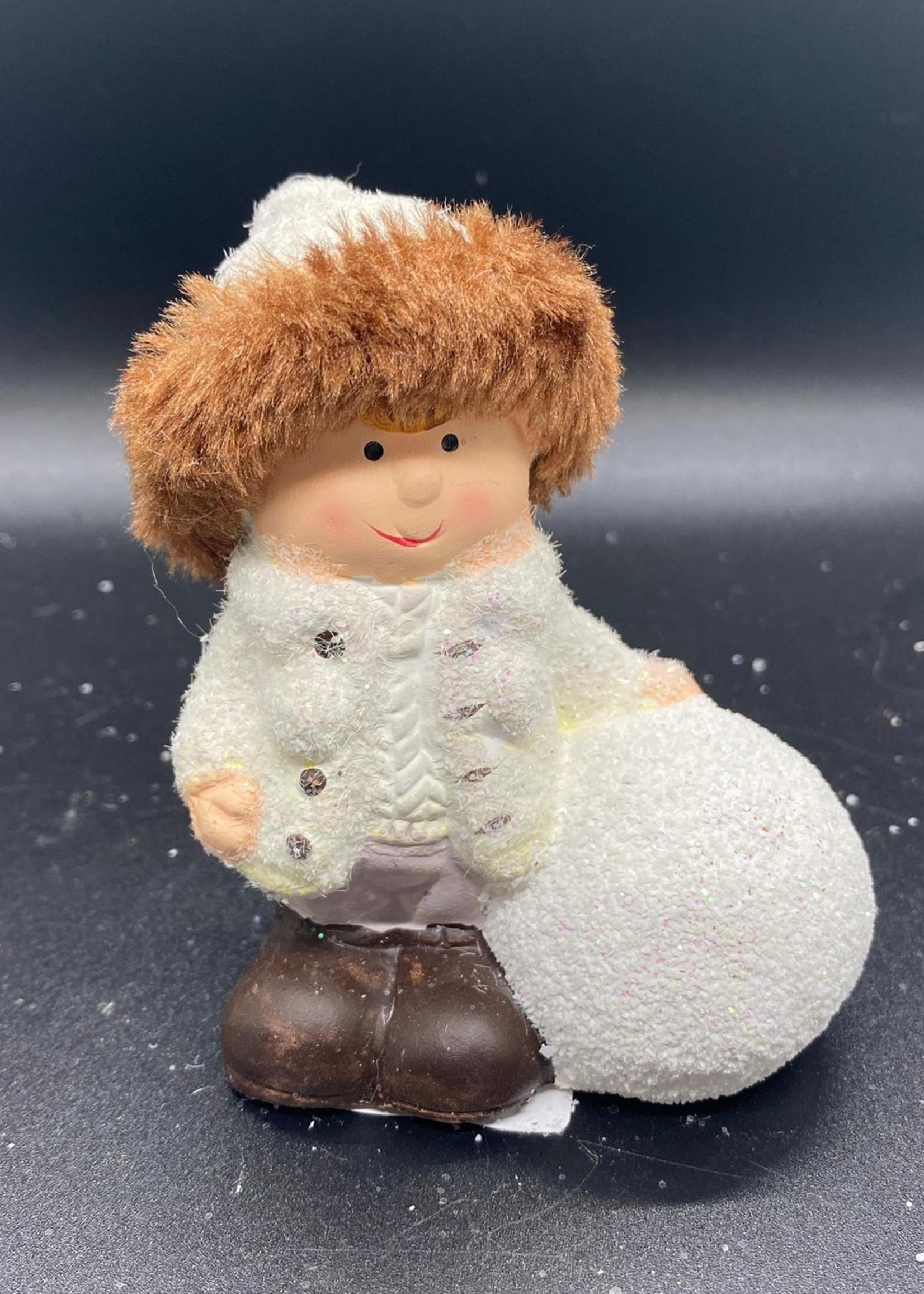 Meisje/jongen met sneeuwbal