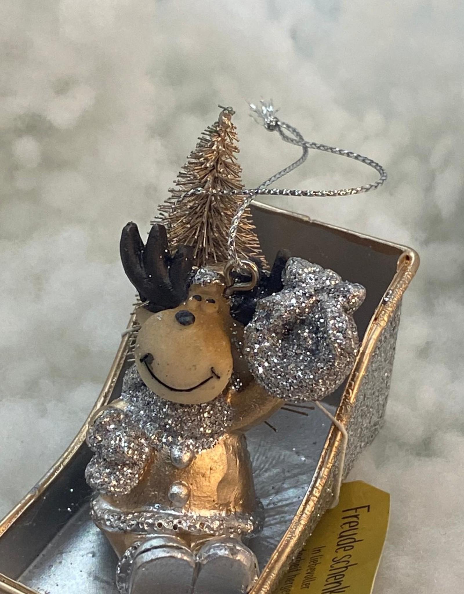 Kersthanger kerstman, sneeuwpop of Eland in de slee