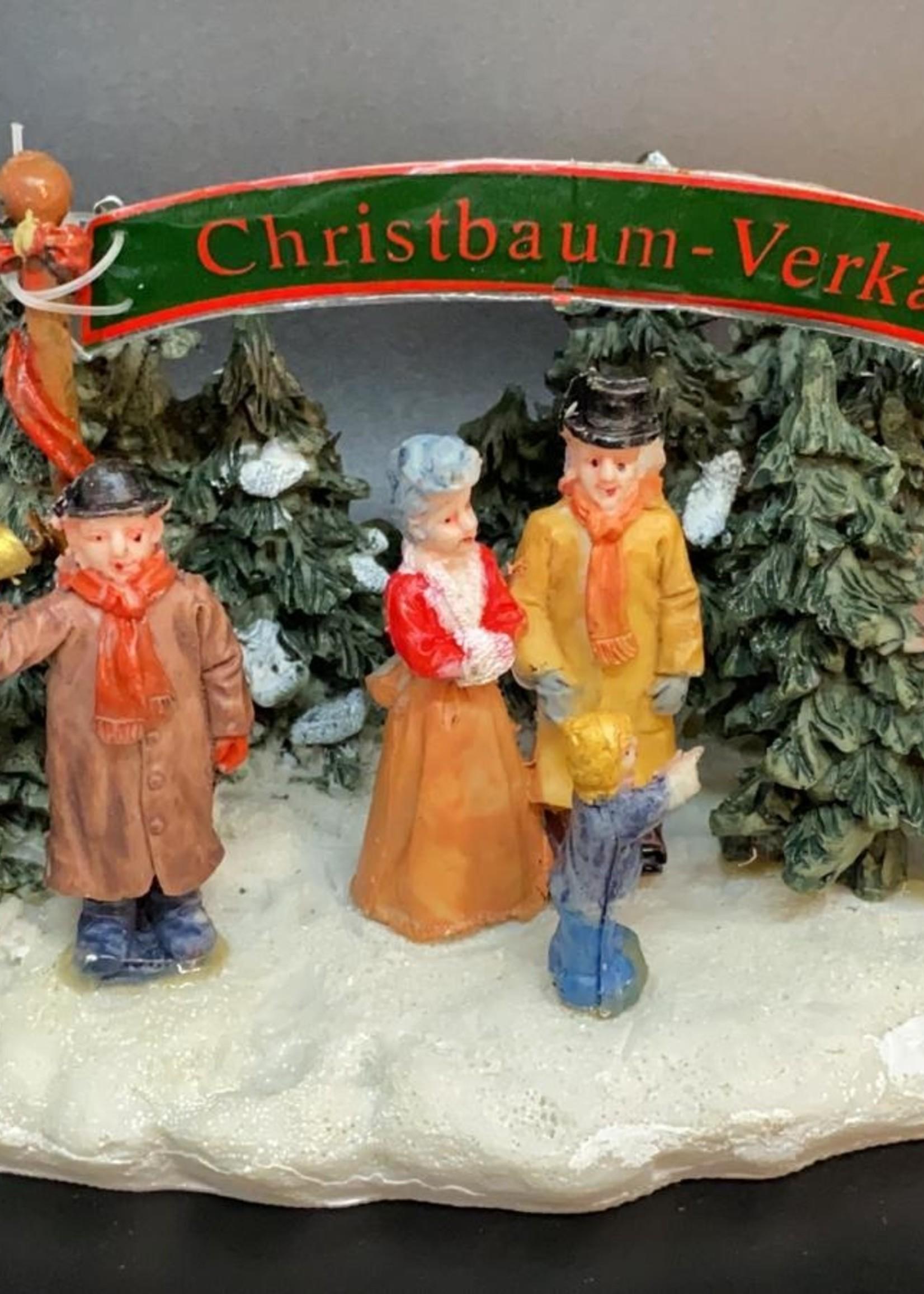 Kerstboom verkoopstand voor kerstdorp