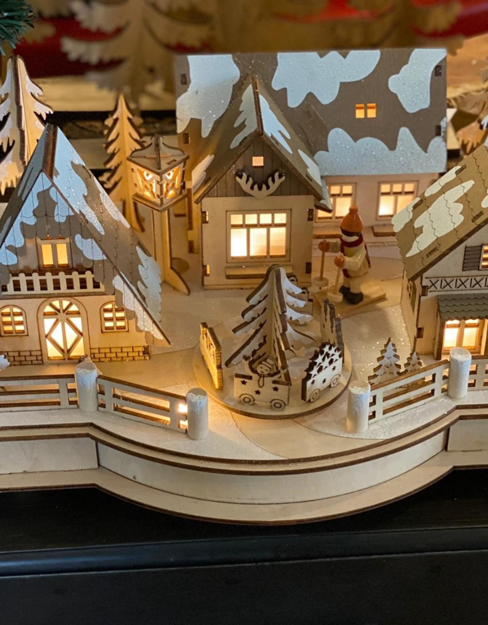 Houten decoratie met LED-licht en muziek